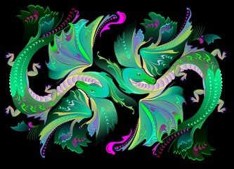 Illustration of couple fantastic fairyland dragons, vector cartoon image.