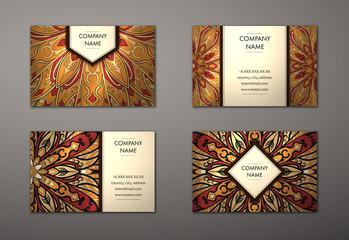 Vector vintage business card set.