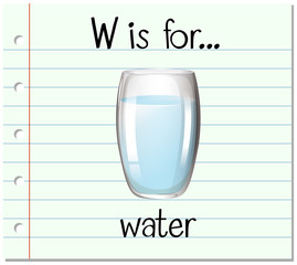 Flashcard letter W is for water
