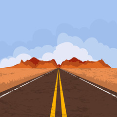 Vector illustration of highway in desert and mountains. Summer landscape with empty road and blue sky. Country street road, flat style illustration. Nature background.