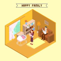 Isometric Interior. Happy Family. Isometric People. Mother with Baby