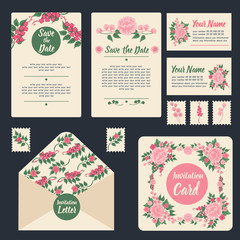 Wedding Invitation Stationary Set. Floral Decoration.
