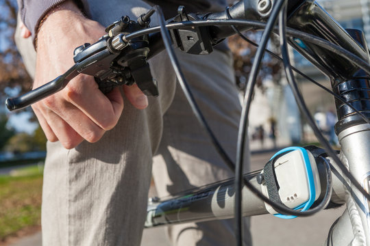 Bicycle equipped with air quality data gathering sensor, sensitive to gasses in the air, measuring pollution in the air. Data sent over Wi-Fi, in Internet of Things concept