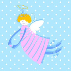 Angel - vector illustration. Love Cupid with a heart in his hands.