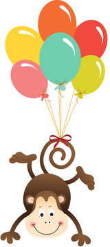 Cute monkey flying with balloons