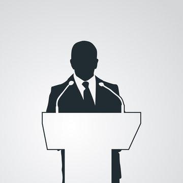 Icono plano silueta orador en fondo degradado