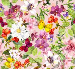 Summer flowers and butterflies. Seemless pattern. Watercolor