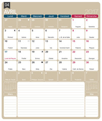 French calendar 2017 / April 2017, French printable monthly calendar template, including name days, lunar phases and official holidays.