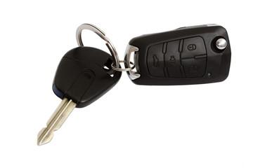 car keys with alarm trinket on isolated white background