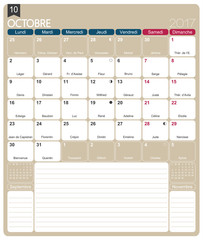 French calendar 2017 / October 2017, French printable monthly calendar template, including name days, lunar phases and official holidays.