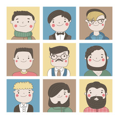 Cute vector set of boys avatars. Hipsters and stylish men.