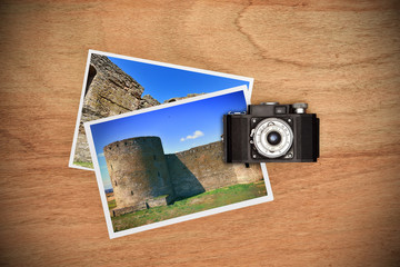 two photos with medieval castle