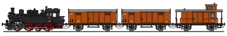 Vintage steam train / Hand drawing, vector illustration