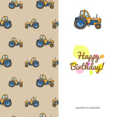 children's greeting card with the images of children's toys transport. sided with seamless pattern. funny color colorful cars