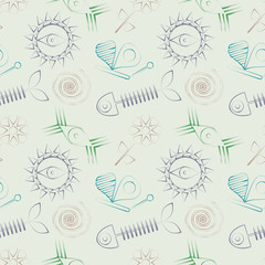 Seamless abstract vector pattern with fish skeleton, sun, eyes and butterfly.