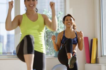 Women taking exercise class