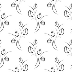 Seamless vector floral pattern. Decorative ornamental black and white background with flowers, leaves and decorative elements. Series of Floral Seamless Patterns