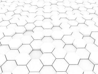 Hexagon pattern 3d white background