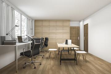 3d rendering beautiful wood working room