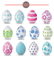 set of color easter eggs. vector illustration
