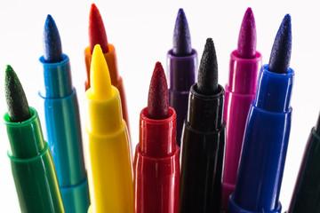 felt-tip pens on a white background