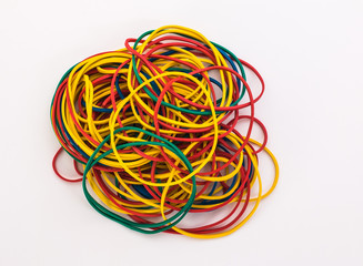elastic bands for money on a white background