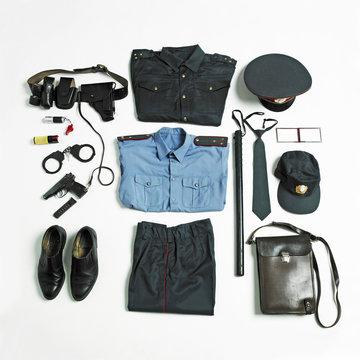 Organized police uniform and equipment