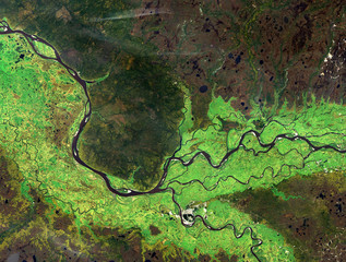 Wall Murals Air photo Ob river (summer) from Landsat satellite. Elements of this image furnished by NASA.