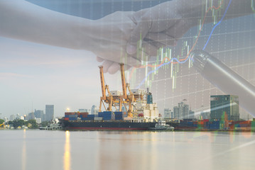Double explosure with businesss charts , handshake and Container