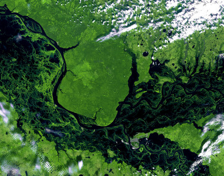 Ob river (spring) from Landsat satellite. Elements of this image furnished by NASA.