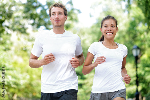 Fitness Healthy Lifestyle Happy Couple Running Summer