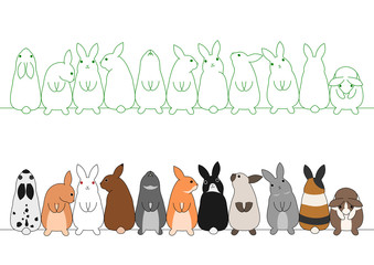 colorful rabbits in a row