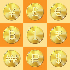 Coin icons set