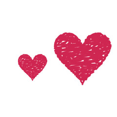 Outline of a red painted heart shape