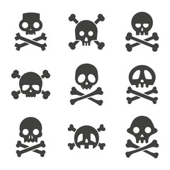 Simple skull and crossbones icon set