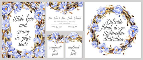 Set of templates for celebration, wedding.