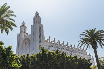 The outside of casablanca cathedral with tree