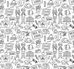 Back to school themed doodle seamless background