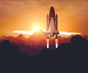 Space Shuttle with sunset background
