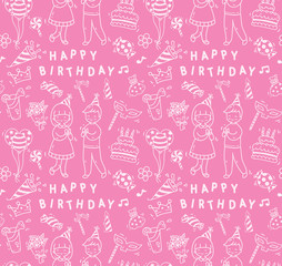 Birthday party doodle seamless background, birthday party design element