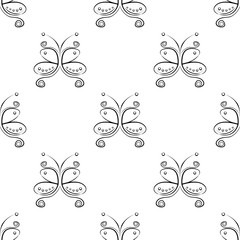 Seamless vector pattern with insect. Decorative symmetrical black and white ornamental background with butterflies and rhombus. Series of Insects Seamless Patterns