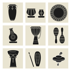 ethnic drums black icons