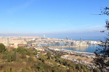 View towards Port of Barcelona from Montjuic, Spain