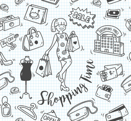 shopping time doodle, shopping background