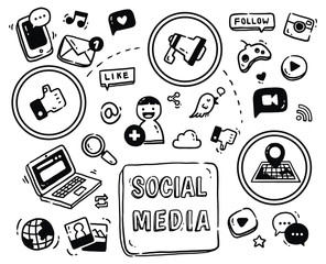 Social media themed doodle isolated on white background