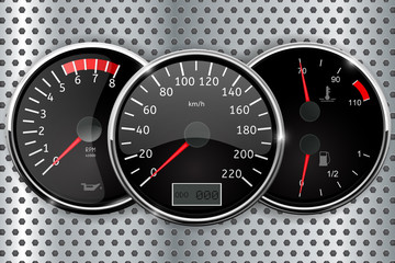 Dashboard - speedometer, tachometer, temperature and fuel gauge