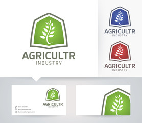 Agriculture Industry vector logo with alternative colors and business card template