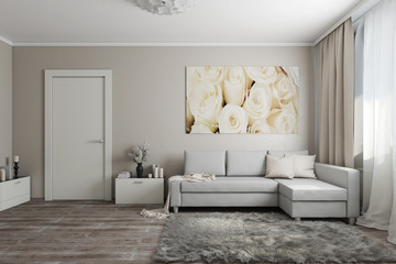 Interior in light colors2. 3d illustration