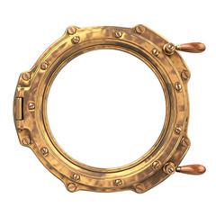 Bronze ship porthole isolated on white. 3d Illustration