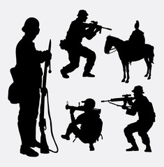 Military, soldier, army, shooting activity silhouette. Good use for symbol, web icon, mascot, sign, sticker design, game elements, or any design you want. Easy to use.